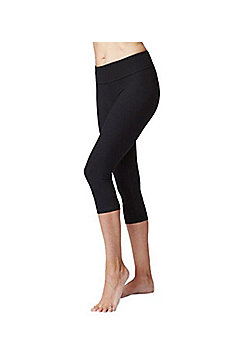 Women's Slimming Shaping Roll Top Yoga Cropped Leggings Black - Black