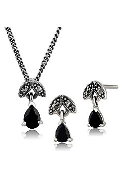 Sterling Silver Sapphire & Marcasite September Birthstone Earring & Necklace Set