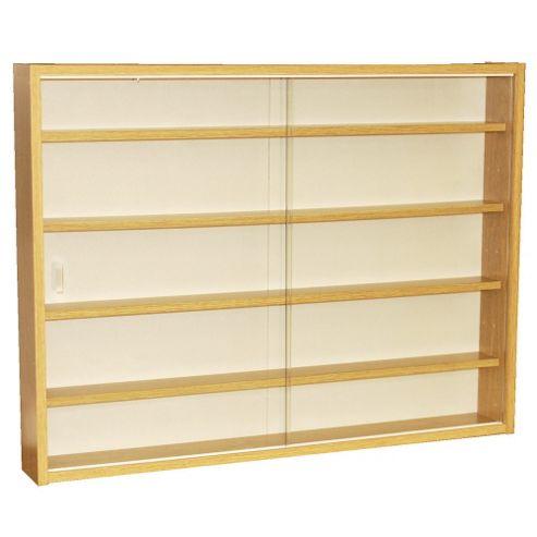 Techstyle 4 Shelf Glass Wall Display Unit - Oak