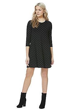 F&F Polka Dot Swing Dress - Black