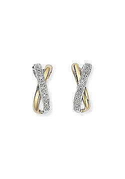 Jewelco London 9ct White & Yellow Gold - Diamond - Kiss' Drop Earrings -