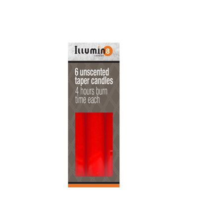 6 x Red Illumin8 Unscented Taper Candles 6 Hours Burn Time