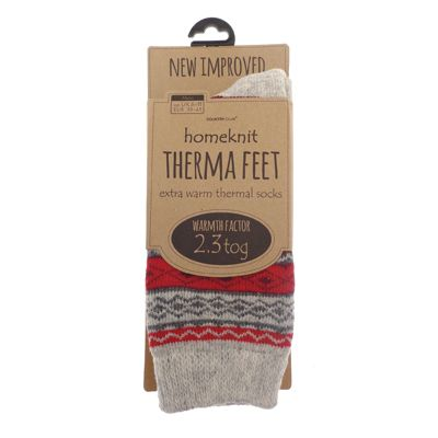Homeknit Mens Thermal Socks UK 6-11, Red
