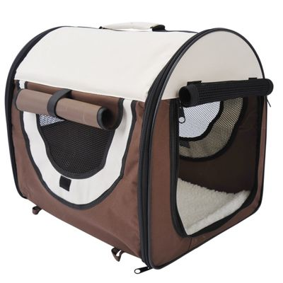 PawHut Folding Fabric Pet Crate Travel Carrier Cage Brown (46L x 36W x 41H cm)
