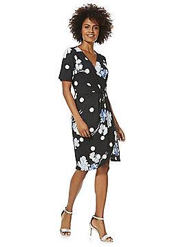 Vero Moda Floral Print Wrap Front Dress - Black Multi