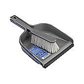 Elliott Stiff Dustpan and Synthetic Brush Set, Soft Rubber Lip, (Silver)