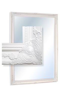 V Large Classic Ornate Style Rectangle White Wall Mounted Wood Mirror 6Ft7x4ft7