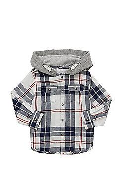 F&F Plaid Check Hooded Shirt - Multi