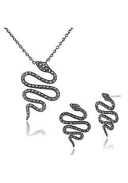 Gemondo 925 Sterling Silver Marcasite Art Nouveau Snake Drop Earring & 45cm Necklace Set