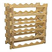 Harbour Housewares 30 Bottle, Stackable, Freestanding Natural Pine Wine Rack