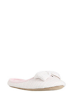 F&F Padded Bow Detail Mule Slippers - Pink