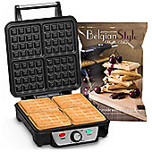 Andrew James Waffle Maker 4 Slice with Non Stick Plates Inc 1KG Belgian Style Waffle Mix