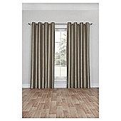 Silk Effect Lined Eyelet Curtains, Duck Egg (66 x 54'') - Mocha
