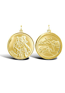 Solid 9ct Gold Double Sided St Christopher Medallion Pendant