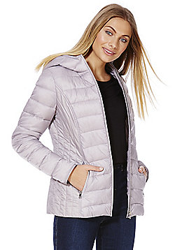 F&F Packable Downfill Padded Hooded Jacket - Grey
