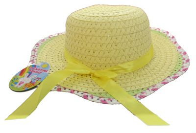 Girls Woven Easter Bonnet Hat with Ribbon Springtime Decorate Arts & Craft
