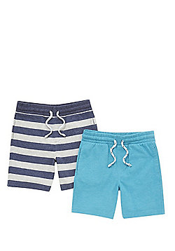 F&F 2 Pack of Drawstring Jersey Shorts - Multi