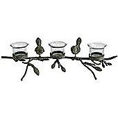 Chirpy - Triple Metal + Glass 3 Tea Light / Candle Holder - Black