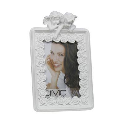 White Cherub and Roses 4 x 6 Photo Frame