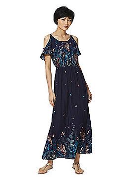 Izabel London Butterfly Print Cold Shoulder Maxi Dress - Navy