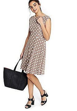 Wallis Polka Dot Fit and Flare Belted Dress - Stone