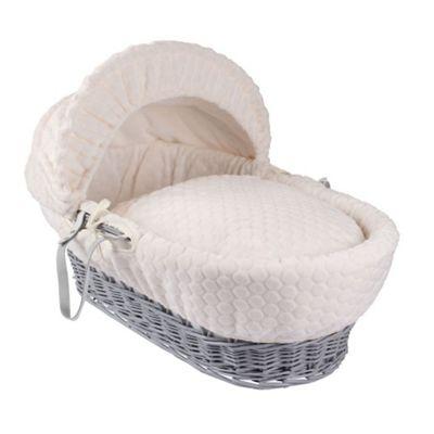 Clair de Lune Grey Wicker Moses Basket (Marshmallow Cream)