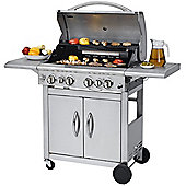 Keansburg Stainless Steel 4 Burner Gas BBQ Grill with Side Burner and Rotisserie Back Burner includes 57cm Grid-in-Grid System