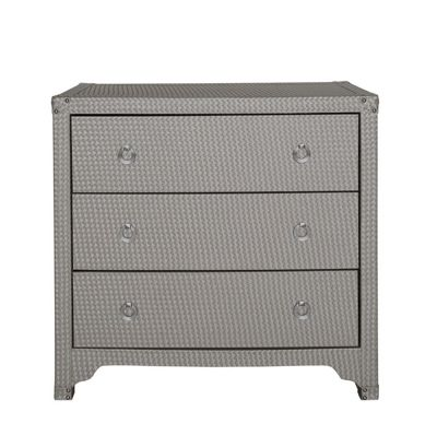 Light Taupe Faux Weave Leather 3 Drawer Cabinet