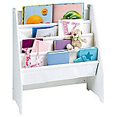 White Wooden Book Display with Canvas Pockets