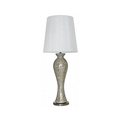 Mercury Mosaic Tall Curve Table Lamp with a White Shade