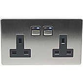 Megaman LightwaveRF 3000W 2 Gang 13A Socket (Stainless Steel)