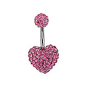 Sterling Silver Pink Crystal Shamballa Belly Bar