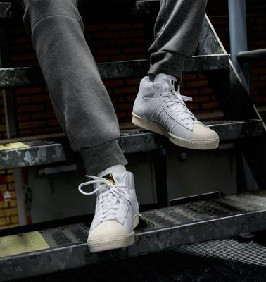 adidas Originals Mens Pro Model Vintage DLX Mid Cut Shell-Toe Trainers - 11