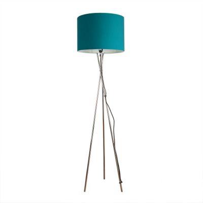 Buy Camden Tripod Floor Lamp Chrome Amp Teal Rolla Shade From Our Floor Lamps Range Tesco