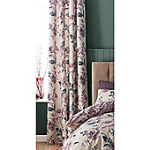 Catherine Lansfield Painted Floral Plum Eyelet Curtains - 66x72 Inches (168x183cm)