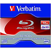 Verbatim 43760 Blu-ray Rewritable Media, BD-RE, 2x, 50 GB, 5 Pack Jewel Case, 120mm