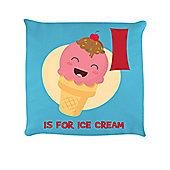 I Is For Ice Cream Sky Blue Cushion 40 x 40cm