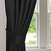 Homescapes Black Herringbone Chevron Curtains Tie Backs Pair
