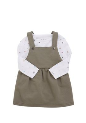 F&F Safari Bodysuit and Pinafore Dress Set Khaki 6-9 months