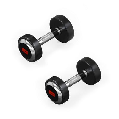 RoundFlex Olympic Round Rubber Dumbbells - 2x7.5KG