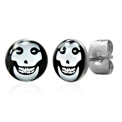 Urban Male Happy Skull Design Stainless Steel Men's Stud Earrings 7mm
