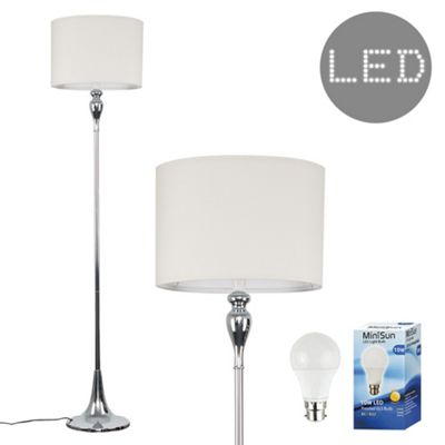 Faulkner 125cm Spindle LED Floor Lamp - Chrome & Cream