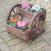 Lovely Wooden Two Tier Cartwheel Planter