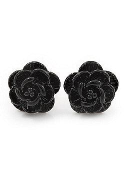 Tiny Black 'Rose' Stud Earrings In Silver Tone Metal - 10mm Diameter