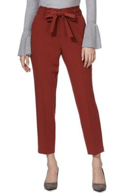 F&F Tie Waist Tapered Trousers Rust Brown 16