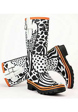 Evercreatures Ladies Knee Wellies Wild & White Pattern in Black - Size 3 (UK)