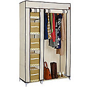 VonHaus Double Canvas Wardrobe Clothes Hanging Rail Shelves Storage Cupboard Beige