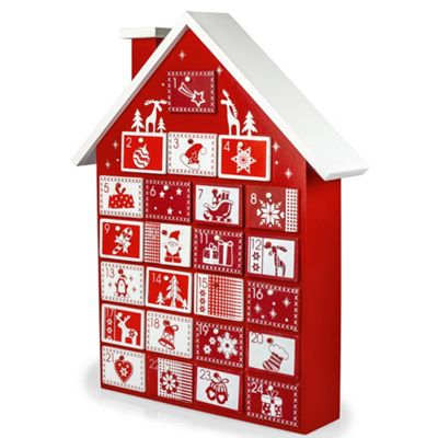 Buy Large 39cm Red White Wooden Christmas House Advent Calendar