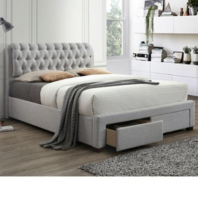 Happy Beds Valentino Fabric 2 Drawer Storage Bed with Pocket Spring Mattress - Light Dove Grey - 4ft6 Double
