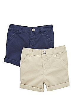 F&F 2 Pack of Chino Shorts - Navy/Beige